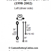 Dodge Left Negative battery wire  for 1998 1/2 to 2002 models